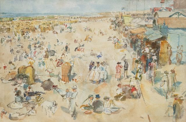 Israels I.L.  | A busy day, Scheveningen beach, watercolour on paper 33.7 x 50.5 cm, signed l.r. and GERESERVEERD