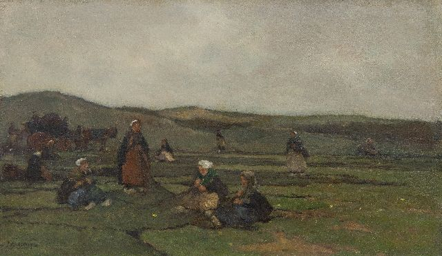 Johannes Evert Hendrik Akkeringa | Mending fishing nets in the dunes, oil on canvas, 29.3 x 49.3 cm, signed l.l.