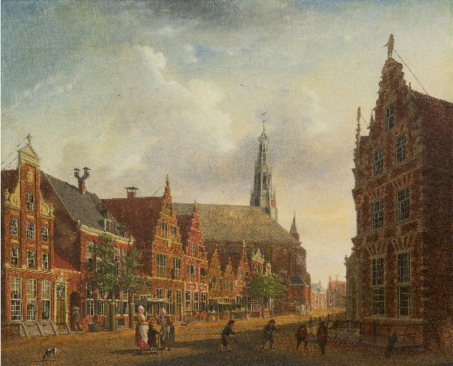 Isaac Ouwater | View of the Nieuwstraat in Hoorn, oil on canvas, 36.7 x 43.8 cm, signed l.r. and dated 1785