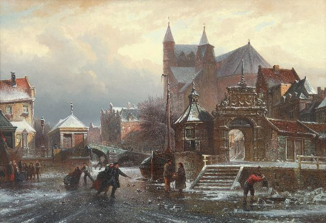 Elias Pieter van Bommel | Skating fun on a frozen canal in a town, oil on panel, 36.7 x 54.4 cm, signed l.r. and dated '72 [?]