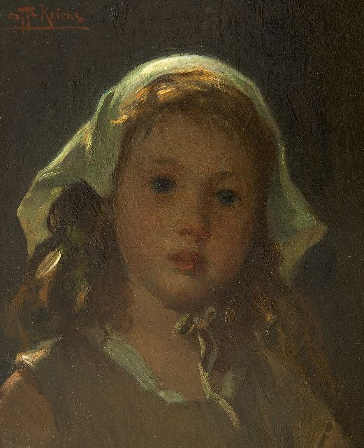 Otto Kriens | Girl's head, oil on panel, 33.0 x 27.2 cm, signed u.l.