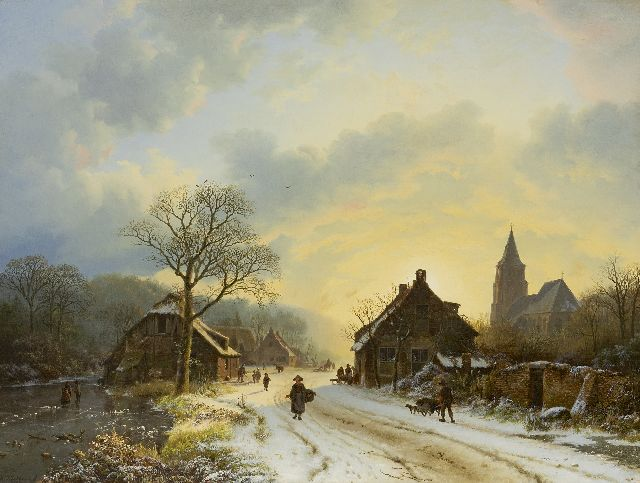 Koekkoek B.C.  | A Lower Rhine winter landscape with a church inspired by the church at Aerdt, oil on canvas 39.7 x 52.4 cm, signed l.l. and dated 1837