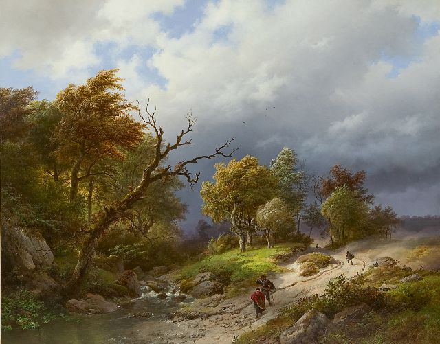 Koekkoek B.C.  | Upcoming storm, oil on panel 65.5 x 83.7 cm, signed l.r. and dated 1843