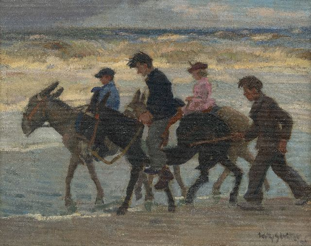 Sluiter J.W.  | Donkey ride on the beach, oil on canvas laid down on panel 40.1 x 50.3 cm, signed l.r. and dated '48
