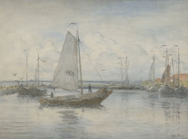 Tholen W.B.  | Botter entering the harbour of Urk, watercolour on paper 51.1 x 70.0 cm, signed l.r.