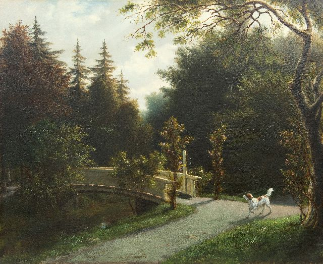 Otto Eerelman | Hunting dog in a parc, oil on canvas, 65.5 x 81.0 cm, signed l.l.