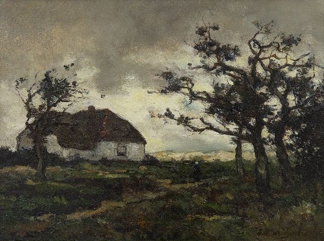 Weissenbruch H.J.  | Landscape with farmhouse near Dekkersduin, The Hague, oil on paper laid down on panel 23.2 x 31.1 cm, signed l.r.