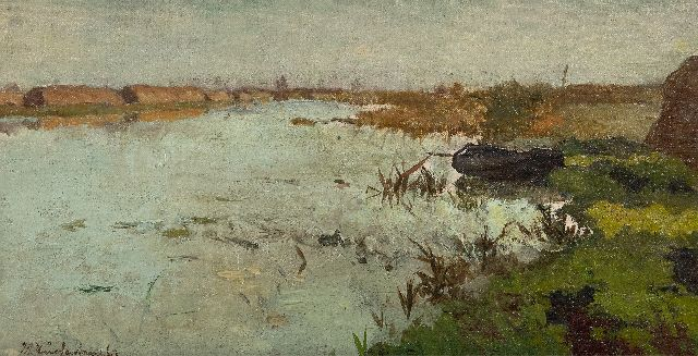 Johan Hendrik Weissenbruch | Peat landscape, oil on canvas laid down on panel, 17.2 x 33.0 cm, signed l.l.