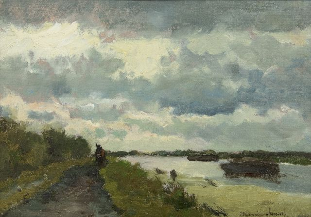 Johan Hendrik Weissenbruch | Towpath along a canal near Noorden, oil on canvas laid down on panel, 22.1 x 31.1 cm, signed l.r. and painted in the 1890's