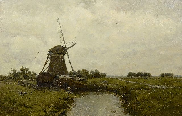 Paul Joseph Constantin Gabriel | Windmill near Leidschendam, oil on panel, 39.4 x 60.0 cm, signed l.l.