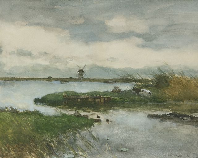 Jan Hendrik Weissenbruch | Cows in a polder landscape, watercolour and gouache on paper, 47.2 x 59.2 cm, signed l.r.