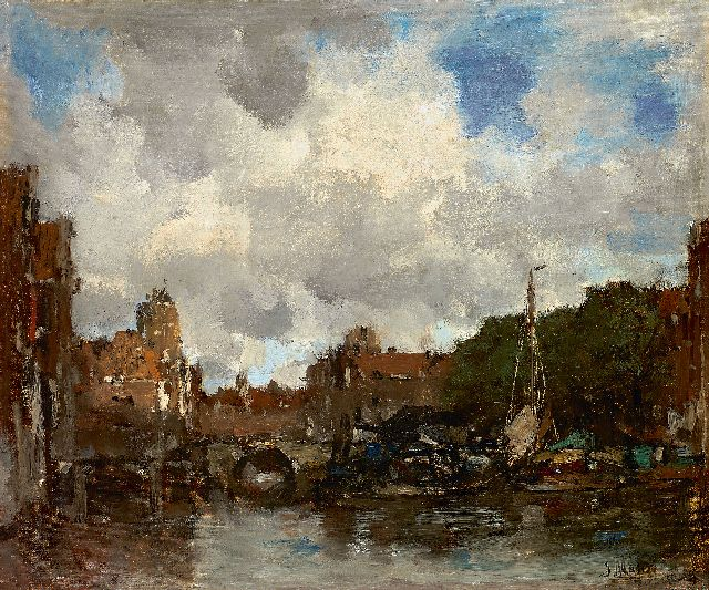 Jacob Maris | A Dutch harbour town (Dordrecht), oil on canvas, 41.5 x 49.0 cm, signed l.r. and to be dated ca. 1890