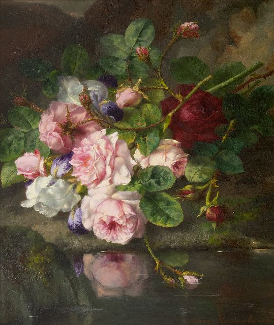 Margaretha Roosenboom | Roses on a forest floor, oil on panel, 45.4 x 37.3 cm, signed l.r.