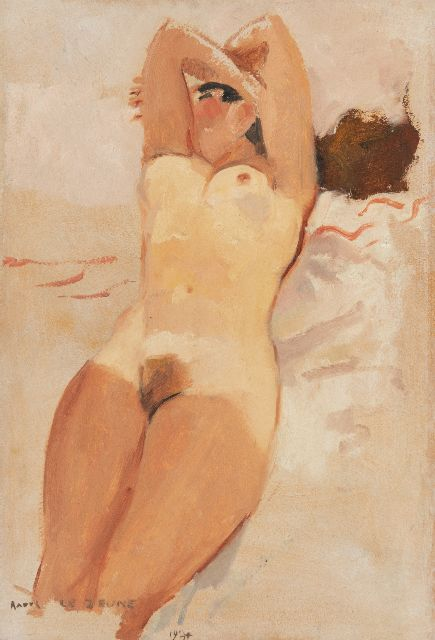 Lejeune R.  | Sunbathing nude, oil on canvas laid down on panel 50.5 x 34.2 cm, signed l.l. and dated 1934