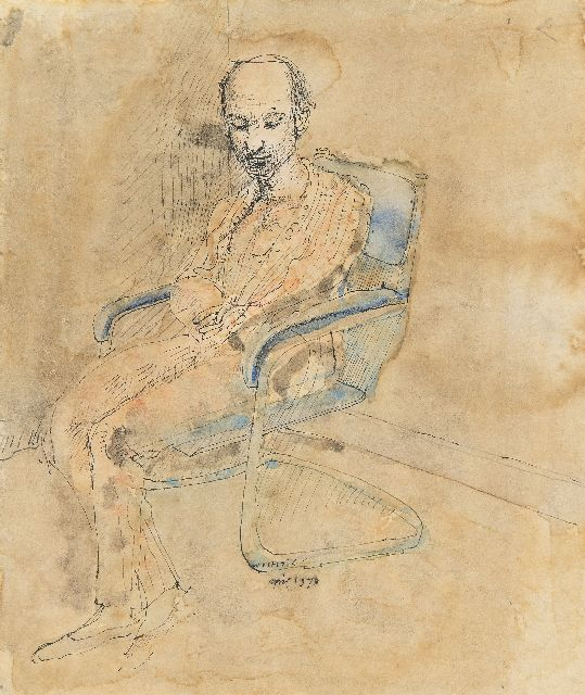 Co Westerik | Man sitting in a chair, pen, ink and watercolour on paper, 20.0 x 15.0 cm, signed l.c. and dated april 1973