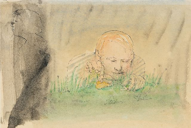 Co Westerik | Man with insects, outside, pen, ink and watercolour on paper, 15.0 x 24.4 cm, signed l.c. and dated 1973