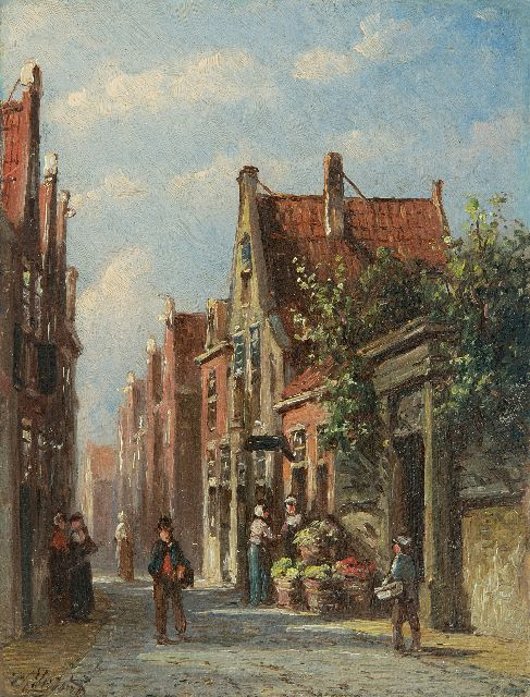 Petrus Gerardus Vertin | A sunny street with vegetable seller, oil on panel, 13.4 x 10.2 cm, signed l.l.