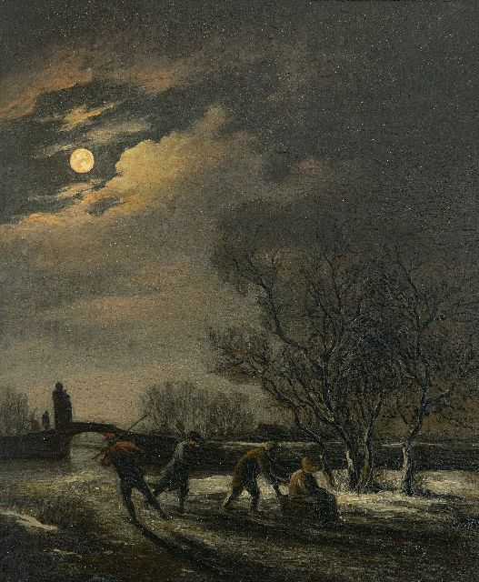 Simon Andreas Krausz | Skaters by moonlight, oil on panel, 21.6 x 18.3 cm