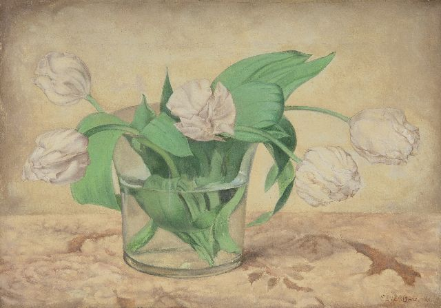 Frans Everbag | White tulips in a glass vase, oil on canvas, 23.5 x 33.4 cm, signed l.r. and dated '26