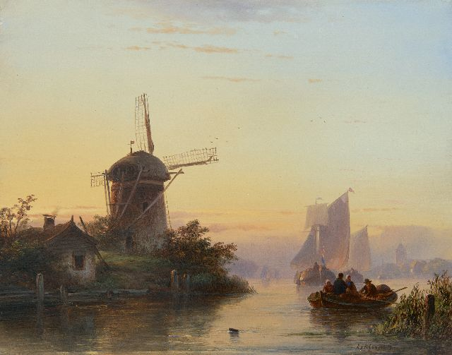 Lodewijk Johannes Kleijn | Shipping on a river at sunset, oil on panel, 28.7 x 36.5 cm, signed l.r.