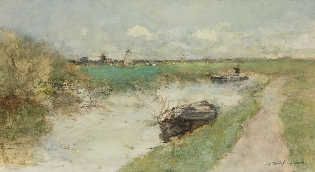 Weissenbruch H.J.  | A polder landscape, watercolour on paper 30.0 x 54.6 cm, signed l.r.