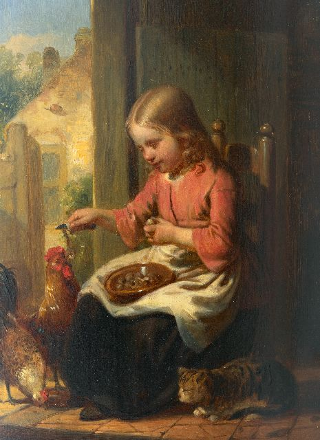 Johannes Antonius Canta | A girl with a cat and chickens, oil on panel, 26.0 x 19.0 cm, signed l.l.
