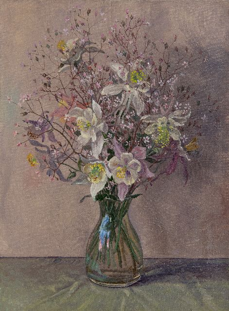 Jakob Nieweg | Flowers in a glass vase, oil on canvas, 40.3 x 30.4 cm, signed l.r. with monogram and dated 1943