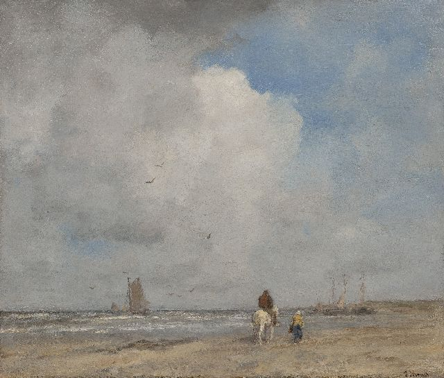 Jacob Maris | Boats and fishermen on the beach, oil on canvas, 46.8 x 55.5 cm, signed l.r. and 1890-1895