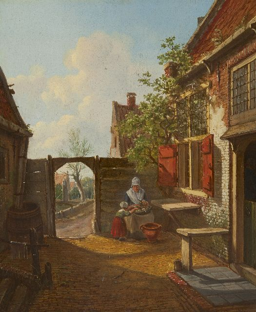 Carel Lodewijk Hansen | A Dutch courtyard, oil on panel, 37.8 x 31.4 cm, signed l.l.