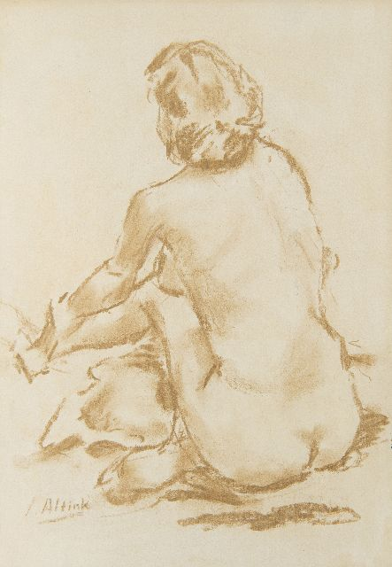 Jan Altink | Naked seen from the back, chalk on paper, 46.0 x 33.0 cm, signed l.l.