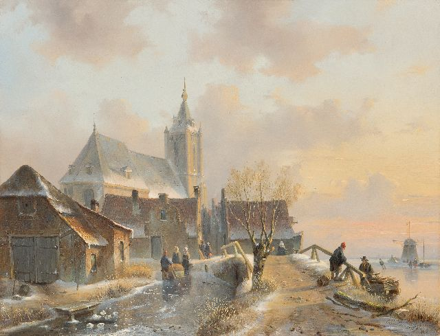 Leickert C.H.J.  | A snowy village view with skaters, oil on panel 49.8 x 37.8 cm, signed l.r. and ca 1845