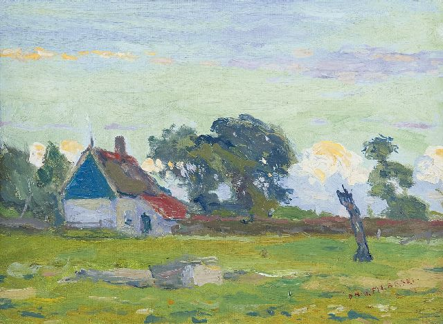 Dirk Filarski | A farmhouse in summer, oil on canvas laid down on board, 25.4 x 34.0 cm, signed l.r. and painted ca. 1908-1909