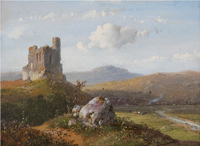 Andreas Schelfhout | Panoramic landscape with a ruin, oil on panel, 14.8 x 21.1 cm, signed l.l. and dated '50