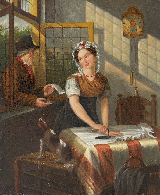 Jan Braet von Uberfeldt | The love letter, oil on canvas, 32.8 x 27.5 cm, signed c.l.  with initials and in full on the stretcher and dated 1852