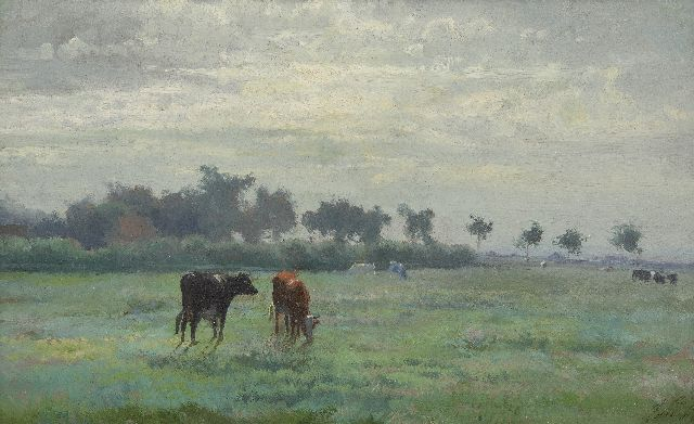 Anton Mauve | Cows in a meadow, oil on paper laid down on panel, 24.7 x 40.1 cm, signed l.r. with initials and painted ca. 1870