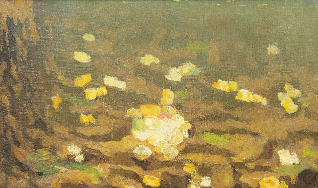 Gerrit Willem Dijsselhof | Sea anemones, oil on canvas, 15.4 x 24.0 cm, signed l.r. with monogram