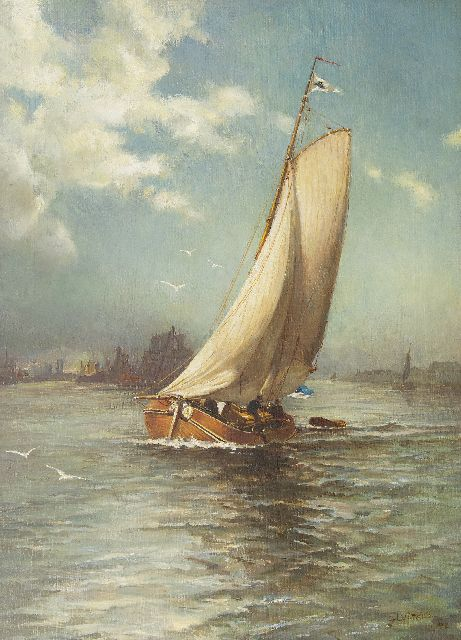 Sluijters J.C.B.  | The boyer 'Fortuna', sailing to the wind, oil on canvas, 62.2 x 45.3 cm, signed l.r. and dated 1902