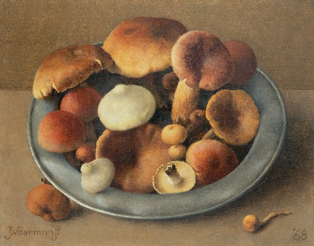 Jan Voerman jr. | A pewter bowl with mushrooms, oil on canvas laid down on board, 19.2 x 24.4 cm, signed l.l. and dated '68