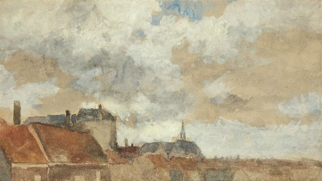 Johan Hendrik Weissenbruch | View over rooftops, watercolour on paper, 32.2 x 57.5 cm, signed l.r. with initials