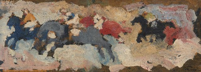 Jan Stekelenburg | Horse race, oil on board, 16.2 x 44.1 cm, signed l.r.
