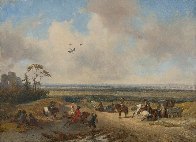 Josephus Jodocus Moerenhout | The falconry, oil on canvas, 51.8 x 70.0 cm, signed l.r. and dated 1865