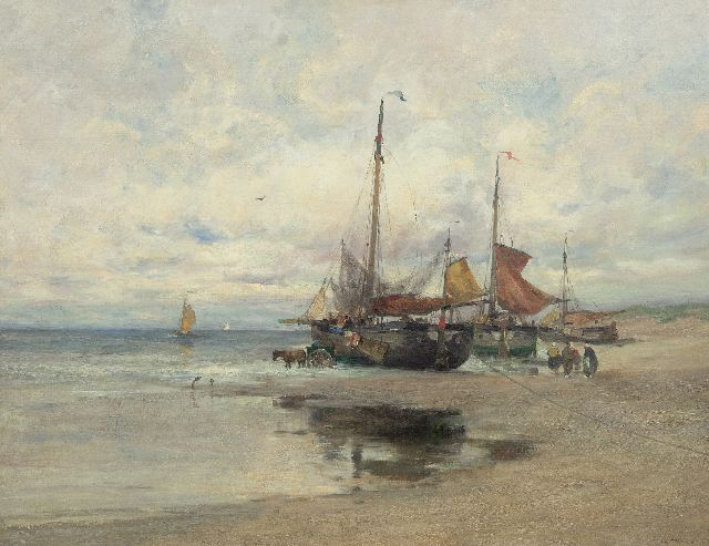 Charles Paul Gruppe | Fishing boats on the beach, oil on canvas, 101.7 x 131.8 cm, signed l.r. and painted ca. 1910