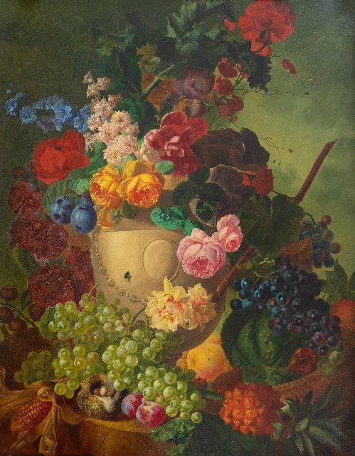Jan van Os | Still life with flowers, fruit and a bird's nest on a marble plinth, oil on canvas, 84.1 x 65.3 cm, signed l.l.