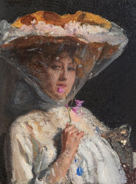 Oppenheimer J.  | Portrait of a lady smelling sweetpeas, oil on canvas 68.8 x 51.3 cm, signed u.l. and dated 'London' 1904