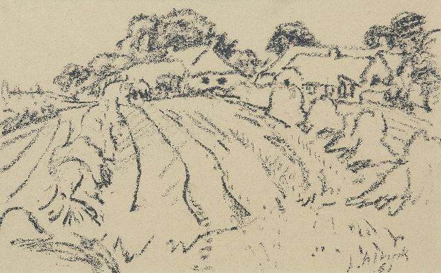 Jan Altink | Arable land with farms, black chalk on paper, 31.1 x 48.3 cm, signed l.r. and dated '61