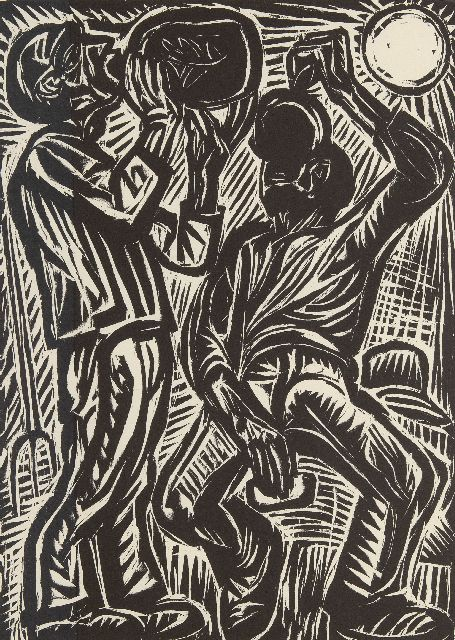 Johan Dijkstra | Drinking farm labourers, woodcut on paper, 50.0 x 37.0 cm