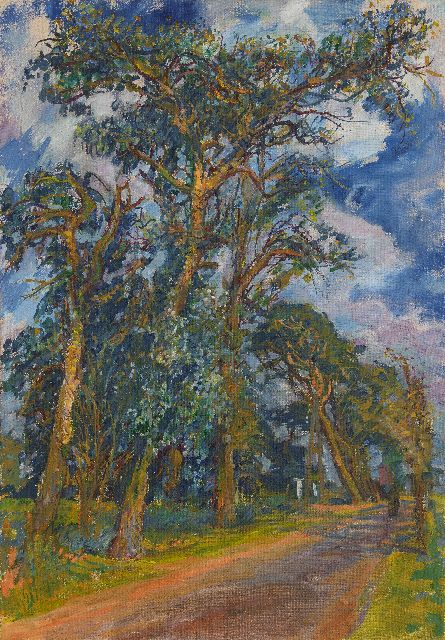 Johan Dijkstra | Figure walking under the trees, oil on canvas, 100.0 x 70.0 cm