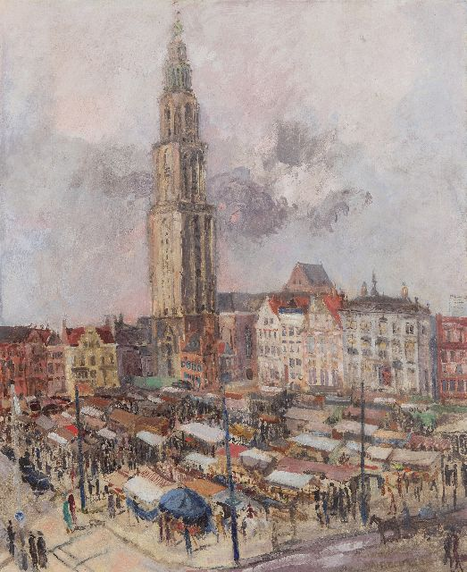 Ben Walrecht | Market Day by the Martinitoren, Groningen, oil on canvas, 81.1 x 66.3 cm, signed l.r. and dated '38