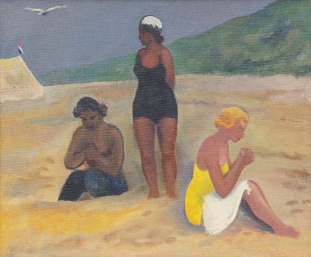 Kleima E.A.  | 3 ladies on the beach, Schiermonnikoog, oil on canvas 50.4 x 60.5 cm, signed with initials on the stretcher and dated 1939 on the stretcher