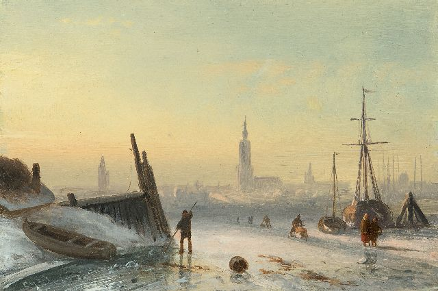 Leickert C.H.J.  | Ice scene with skaters near a city, oil on panel, 11.7 x 17.3 cm, signed l.l. with initials